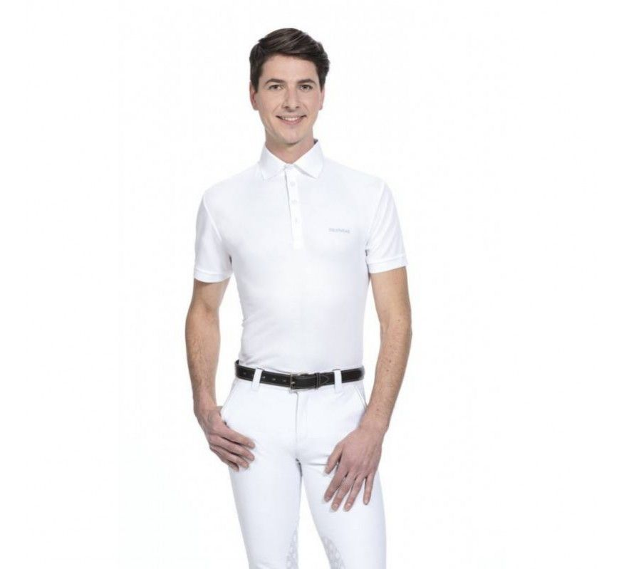 EQUITHEME Mesh Kurzärmeliges Polohemd Weiss