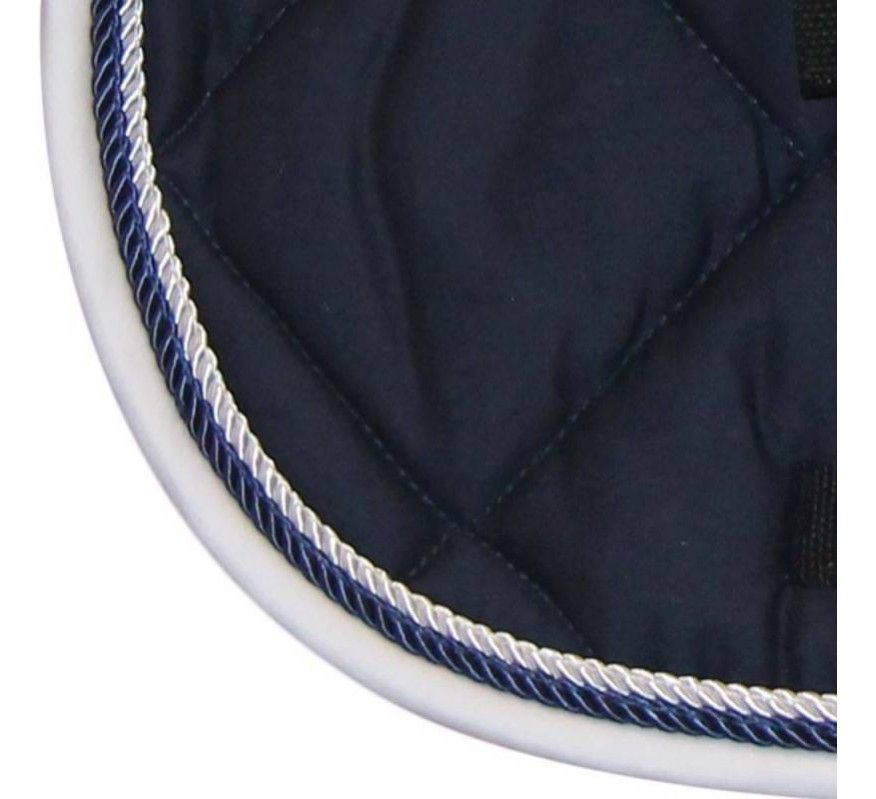 HFI Tapis de selle Dressage Marine Cordelette Blanc