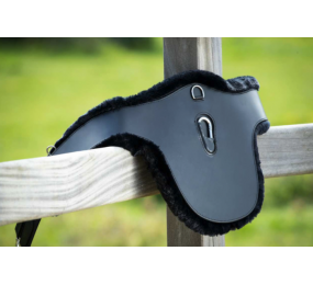 HFI leather belly protector girth with synthetic sheepskin