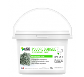 ESC LABORATOIRE Poudre d'Argile – Argile riche en nutriments à reconstituer – Récupération tendons cheval 1kg