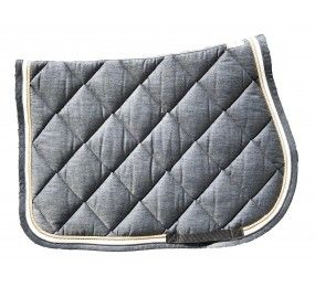 CRISTINA SPORT Tapis de selle gris 2 liserés gris et beige tissu blanc