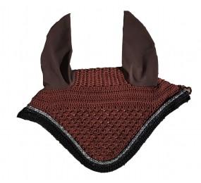 CRISTINA SPORT Bonnet brun cordelettes strass gris - noir