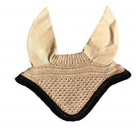 CRISTINA SPORT Bonnet beige cordelettes noir et strass noir